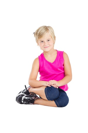 cute girl posing on white photo
