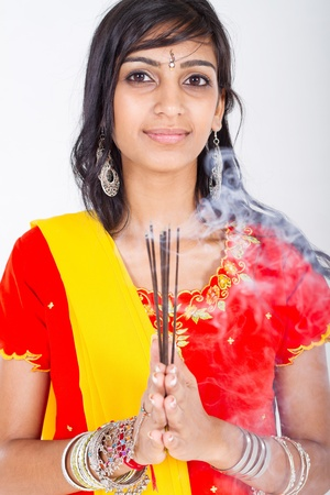 indian woman holding incense photo