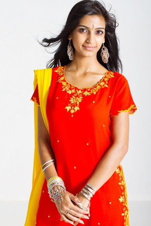 graceful young traditional indian woman photo