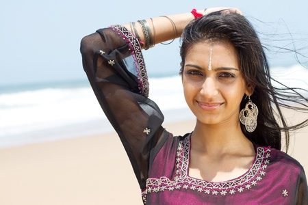 indian ocean: pretty indian woman outdoors