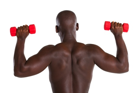 back of strong african man lifting weights photo