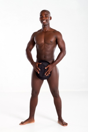 nude african man with hat