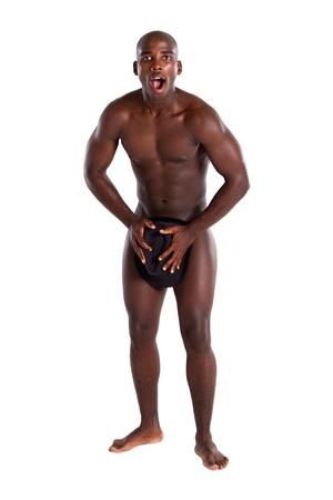 naked man: surprised african man Stock Photo