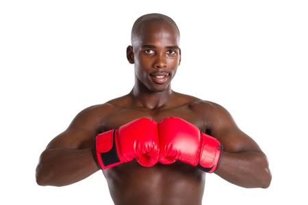 african man wearing boxing gloves photo