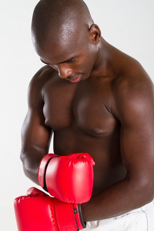 serious young african boxer photo