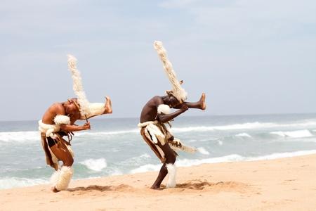 tribal dance: zulu dancers on beach