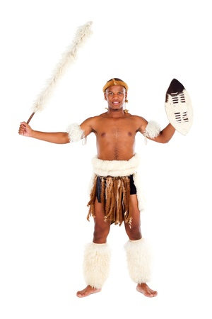african man in costume on white photo
