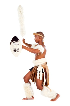 warrior tribal: zulu warrior fighting on white