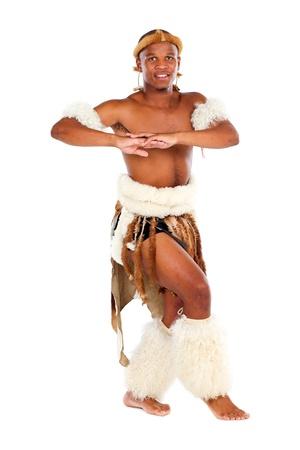 happy zulu man on white photo