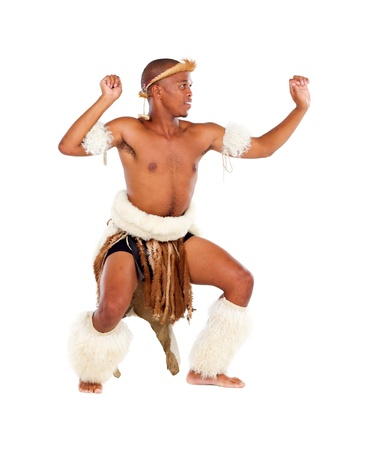 african zulu dancer on white photo