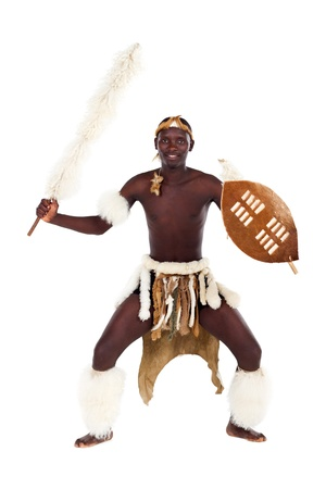 hombre zulú en traje Foto de archivo