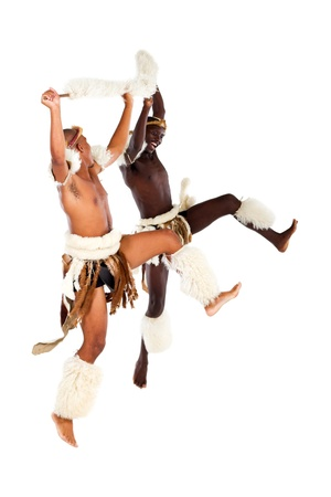 african warriors: two zulu warrior dancers Stock Photo