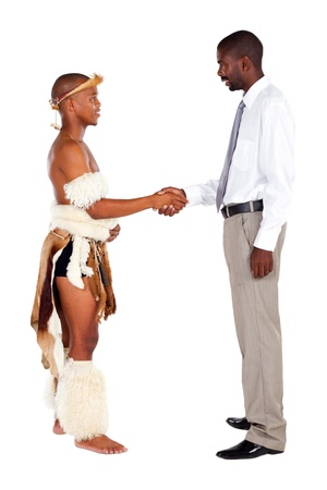 tribesman and modern african man handshake photo