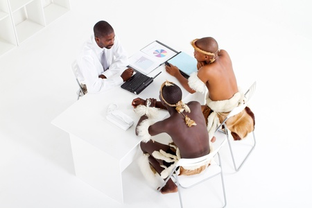 overhead of an african business meeting Stock Photo - 9091743