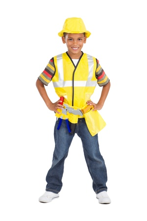 working belt: little boy as construction worker