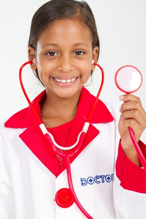 role play: little doctor holding a stethoscope