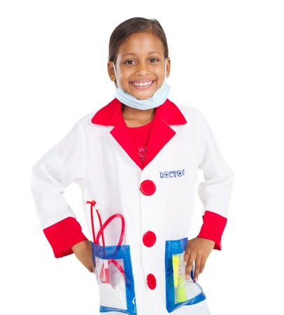 little girl as medical doctor, isolated on white photo