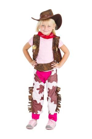 little cute cowgirl studio portrait over white photo