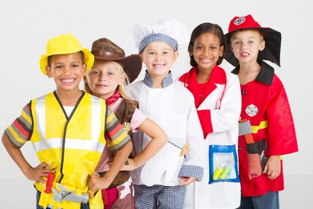 group of kids in uniforms costumes photo