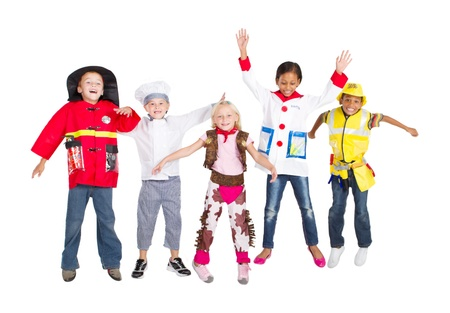 group of kids in costumes jumping up, isolated on white photo