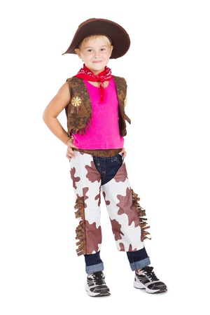 little cowgirl isolated on white photo