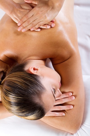 laying on back: back massage