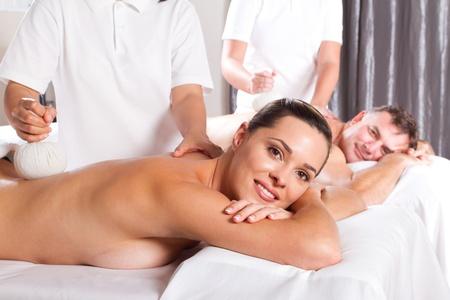 couple having Thai massage photo