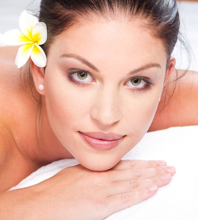 beautiful young woman face closeup in spa salon Stock Photo - 9526414