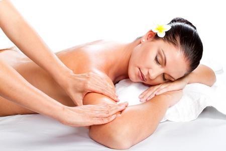 relaxation massage: young beautiful woman receiving massage  Stock Photo