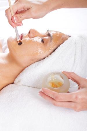 facial cream: honey facial Stock Photo