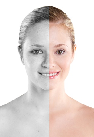 woman beauty concept before and after contrast photo