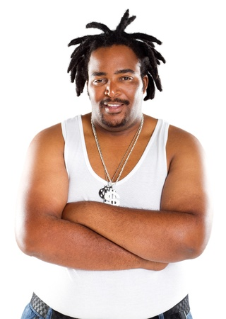 overweight people: overweight african american rapper portrait