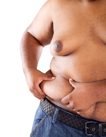 overweight african american man photo