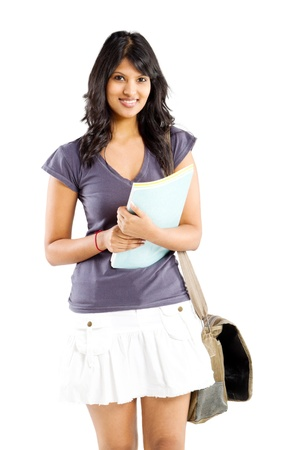indian college student: cute indian college student studio portrait