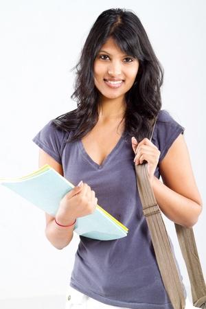 indian college student: cute latin college student studio portrait