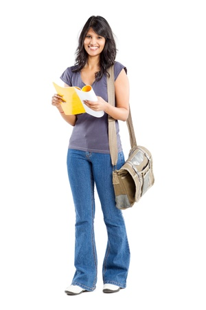college student: full length portrait of young female college student Stock Photo