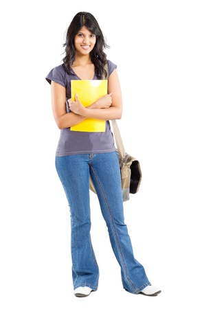 full length portrait of young female college student on white photo