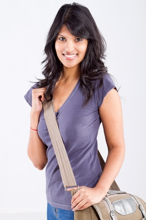 indian college student: beautiful female college student with a shoulder bag Stock Photo