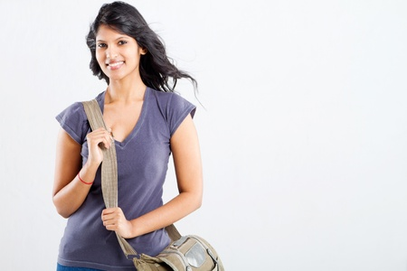 indian girl: beautiful female college student with a shoulder bag Stock Photo
