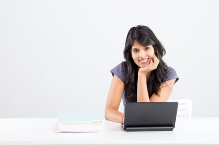 latin students: cute smiling female college student Stock Photo