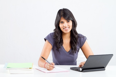 happy indian college student studying Stock Photo - 9844018