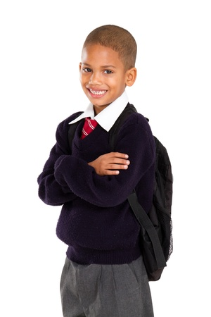 half length portrait of young elementary pupil Stock Photo - 10740330