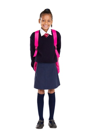 full length studio portrait of female elementary pupil