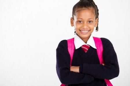 school children uniform: half length portrait of primary schoolgirl Stock Photo