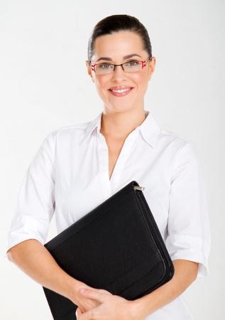 attractive businesswoman studio portrait on white Stock Photo - 10740303