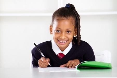 brainy: cute primary schoolgirl Stock Photo