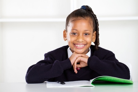 first class: cute primary schoolgirl Stock Photo