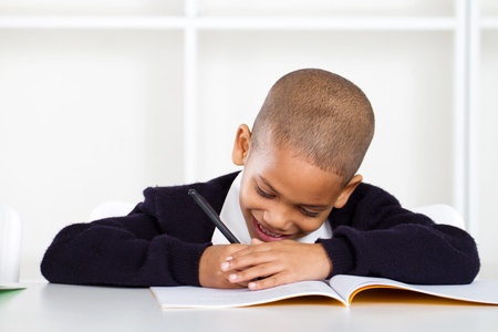 cute primary schoolboy writing homework photo