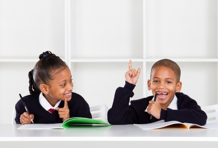 black children: cute elementary school kids in classroom