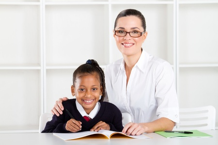 elementary teacher and student portrait photo